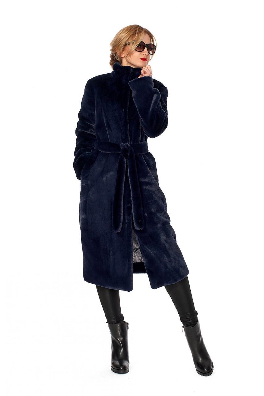 Женская длинная шуба с воротником стойкой из искусственного меха синяя