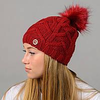 """Женская шапка с помпоном """"Praga"""" бордо, фото 1"""