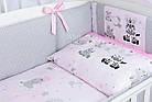 Комплект постельного белья Asik Зебры и жирафы серо-розового цвета 8 предметов (8-304), фото 4