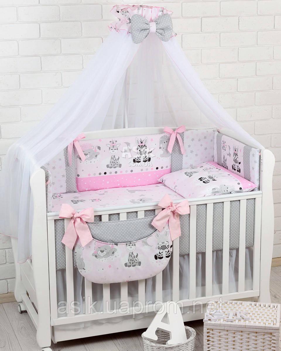 Комплект постельного белья Asik Зебры и жирафы серо-розового цвета 8 предметов (8-304)