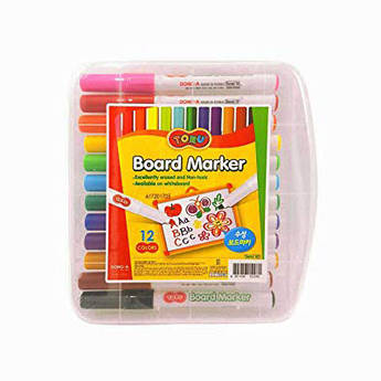 Набір маркерів для магнітних сухостираємих дошок, 12 кольорів, Dong-A Toru