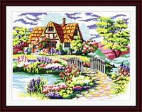 Домик мечты с мостиком Набор для вышивки крестом с печатью на ткани 14ст