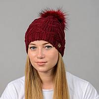 """Женская шапка с помпоном """"Praga"""" марсала, фото 1"""