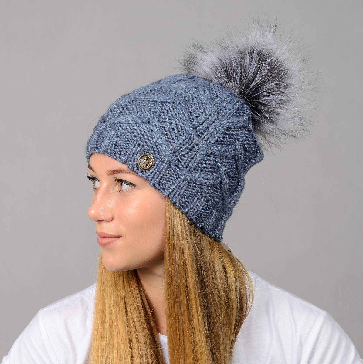 """Женская шапка с помпоном """"Praga"""" джинс"""