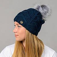 """Женская шапка с помпоном """"Praga"""" синий, фото 1"""