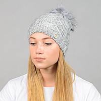 """Женская шапка с помпоном """"Praga"""" серый, фото 1"""