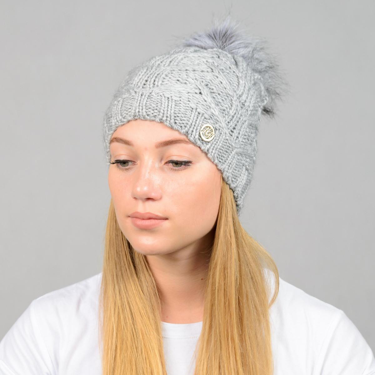 """Женская шапка с помпоном """"Praga"""" серый"""