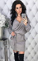 Демисезонное платье выше колен с запахом глубокое декольте длинный рукав ангора серое