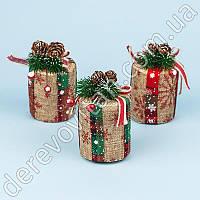 """Новогодние игрушки небьющиеся """"Подарок в глиттере"""" 6×10 см, 3 шт. упаковка"""