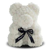 Мишка из роз My Dream 25 см. белый