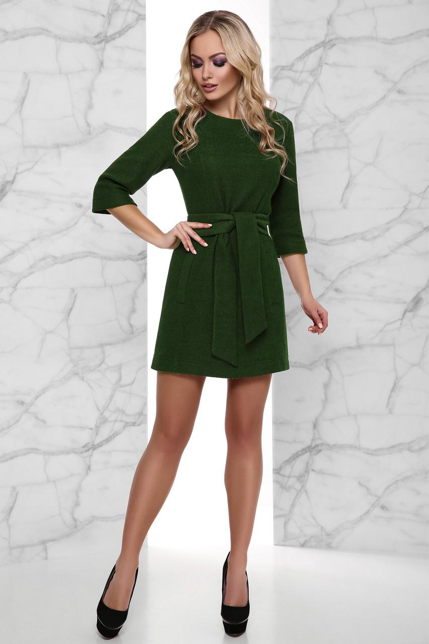 7031839c666 Короткое Теплое Платье Вязка с Начесом под Пояс Хаки S-XL - Ukraine In Trend
