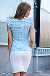 Голубая женская блуза с аппликацией, фото 2