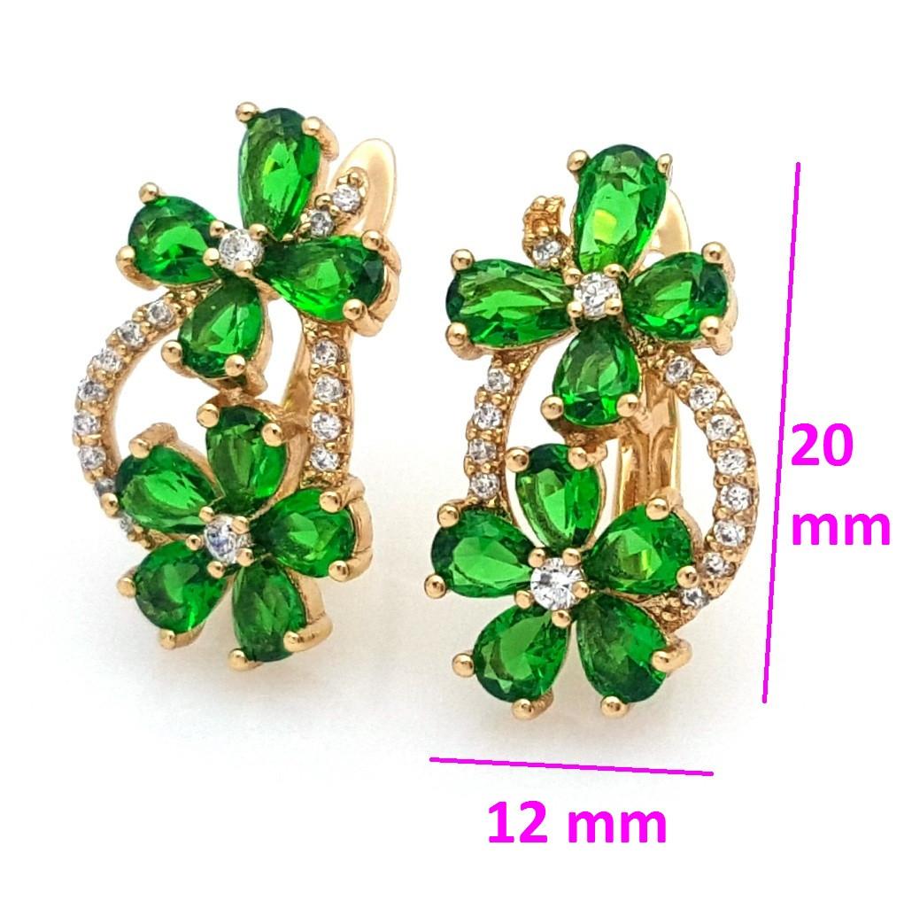 Позолочені сережки, Метелик і Квітка, із зеленим цирконієм, англ.замок, 18К