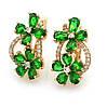 Позолочені сережки, Метелик і Квітка, із зеленим цирконієм, англ.замок, 18К, фото 2