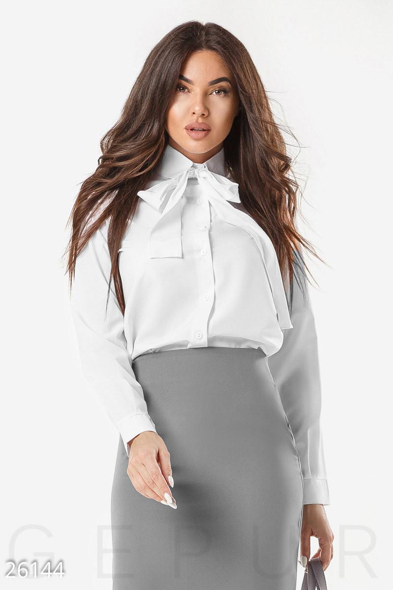 e47cf6035f0 Стильная Блуза Белого Цвета с Бантом Больших Размеров — в Категории ...