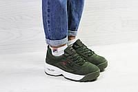 Зимние женские кроссовки Fila Yalor темно зеленые / кроссовки женские зимние Фила