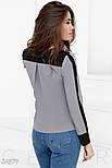Сіро-чорна шифонова блуза великих розмірів, фото 3