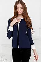 Сине-белая шифоновая блуза больших размеров