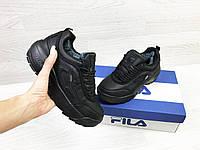 Зимние женские кроссовки Fila Yalor черные / кроссовки женские зимние Фила