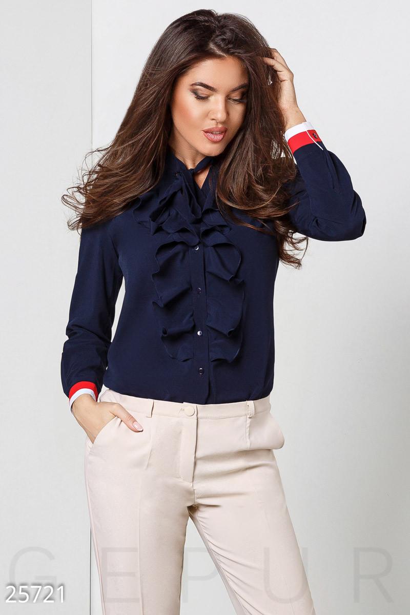 fc1be7845d0 Женская Темно-синяя Блуза с Воротником-аскот — в Категории