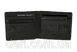 Шкіряне портмоне чорний з отеленням під монети