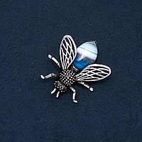 Брошь кулон Мушка с натуральным камнем Синий Агат 48х40мм