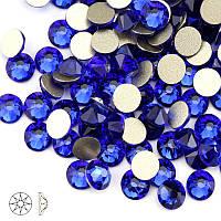 Стразы стекло! ss6  цвет -сапфир, синий,  100шт