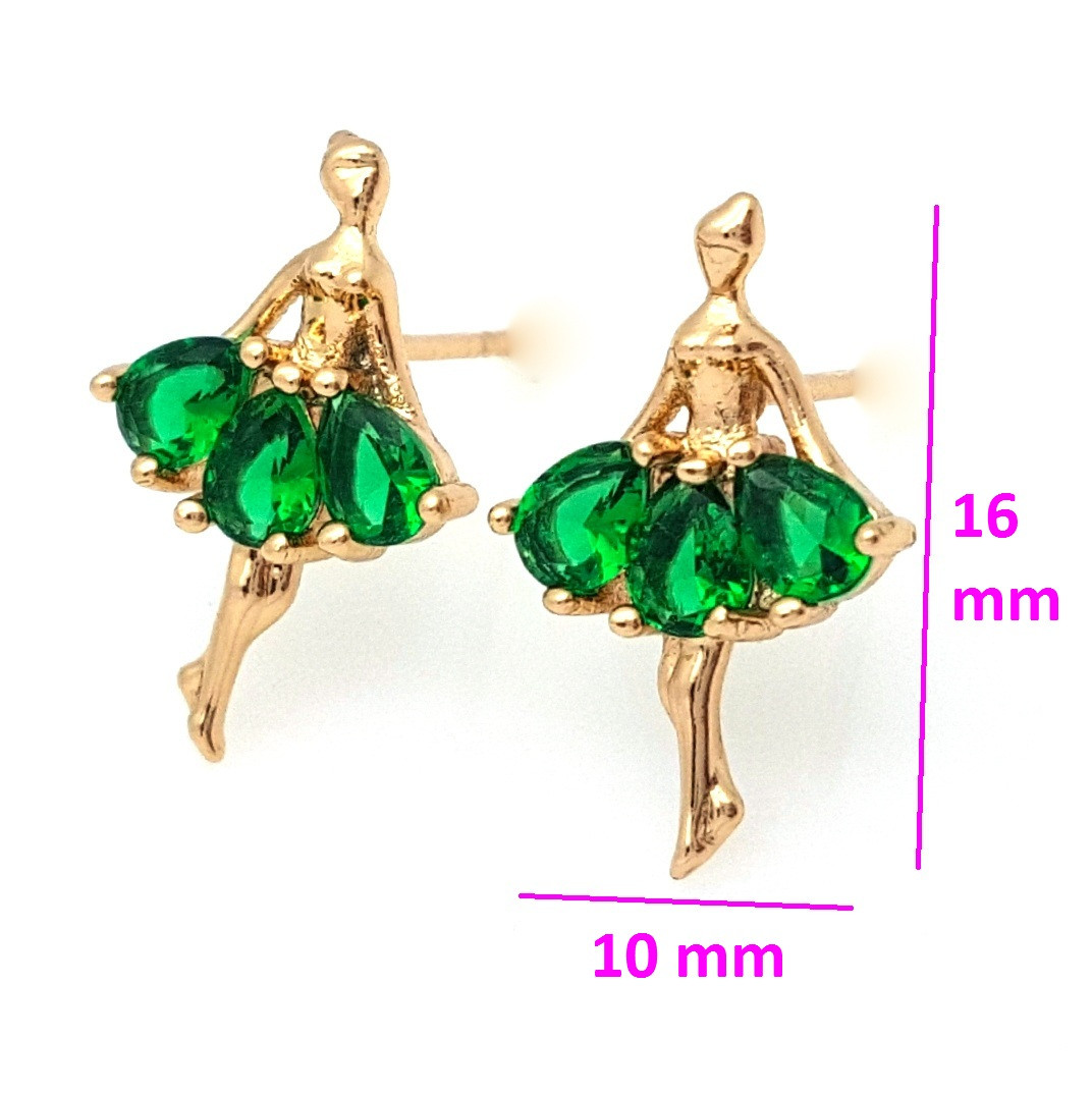 Серьги позолоченные 704732, Балетная Фея с зеленым цирконием, гвоздики