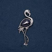 """Брошь кулон Фламинго с натуральным камнем Авантюрин """"синий песок"""" 85х30мм"""