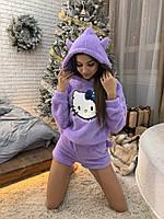 Теплая женская пижама (кофта+шорты) Хэллоу Китти