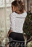 Стильная белая блуза в черный горошек, фото 3