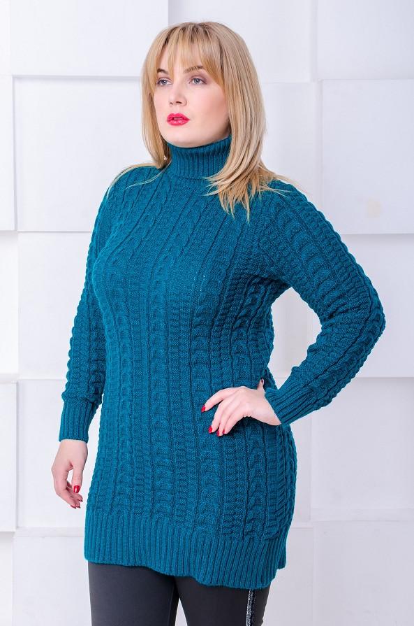 Женский свитер под горло Сьюзен морская волна (56-60)