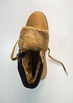 Мужские ботинки на меху Лион с коричневой вставкой рыжие, фото 2
