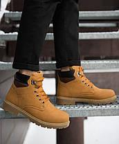 Мужские ботинки на меху Лион с коричневой вставкой рыжие, фото 3