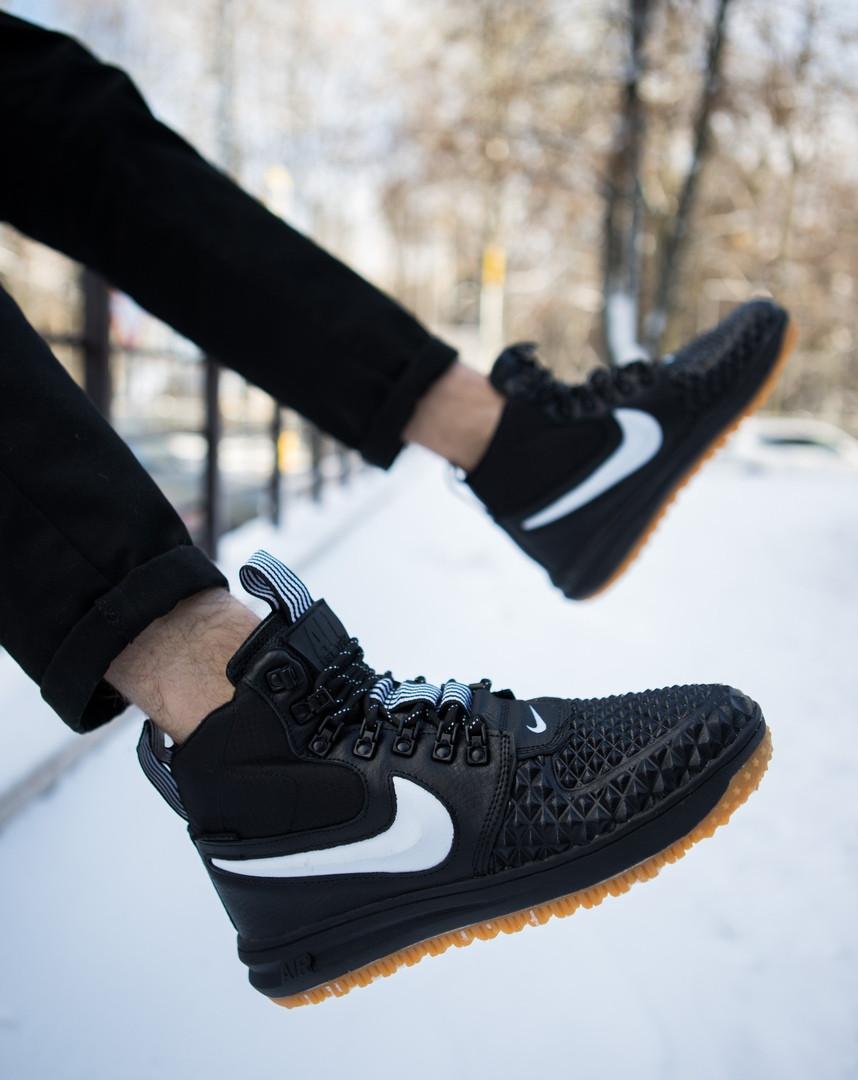 Кроссовки высокие мужские Nike АФ 1 черные с белым знаком топ реплика