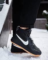 Кроссовки высокие мужские Nike АФ 1 черные с белым знаком топ реплика, фото 3