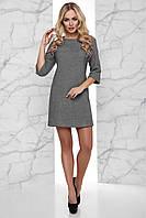 Короткое Теплое Платье Вязка с Начесом под Пояс Серое S-XL