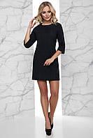 Короткое Теплое Платье Вязка с Начесом под Пояс Черное S-XL, фото 1
