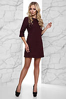 Короткое Теплое Платье Вязка с Начесом под Пояс Бордовое S-XL, фото 1