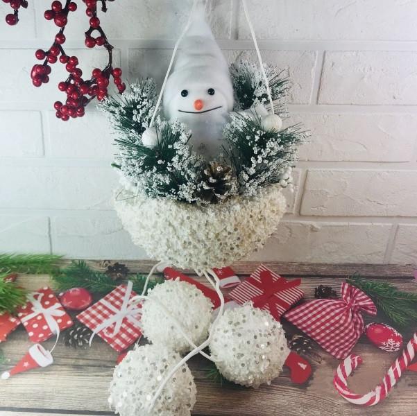 Новорічна підвіска Сніговик 60 см