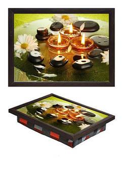 Поднос мини BST 040258 34*25 коричневый свечи и ромашки