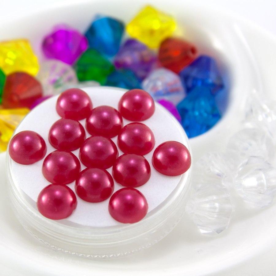 (20 грамм) Полубусины 8мм (прим. 145-175 шт) Цвет - Фуксия