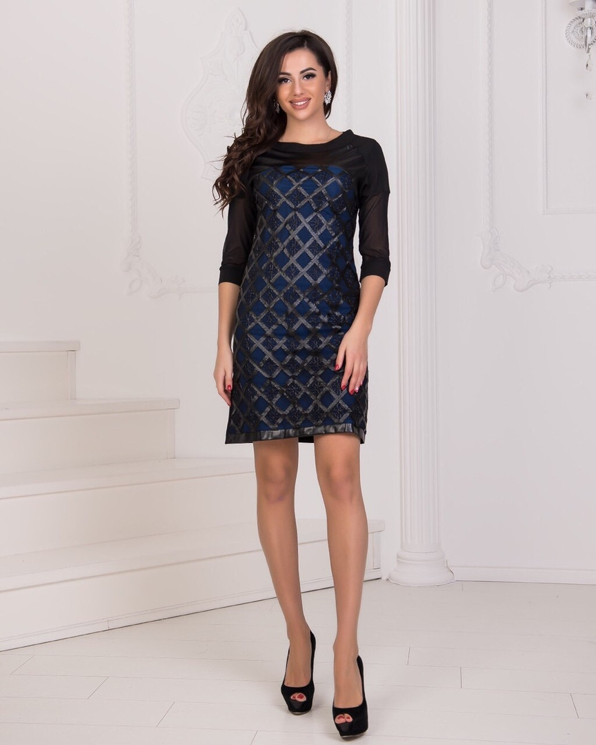 Платье короткое вечернее с сеткой синее