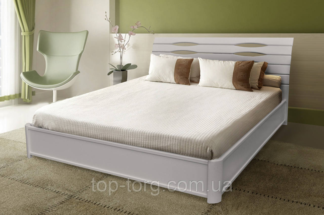 Кровать Мария белая с подъемным механизмом, 1800х2000мм темный орех, деревянная