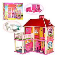Кукольный дом для Кукол 6980 / Двухэтажный домик с верандой и мебелью, размер домика 83,5-70-25,5 см