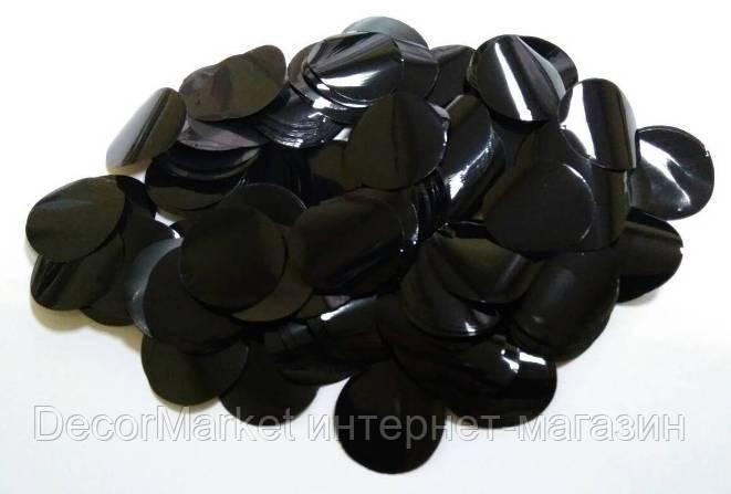 Конфетти кружки - ЧЕРНЫЕ. Упаковка 100 грамм, фото 2