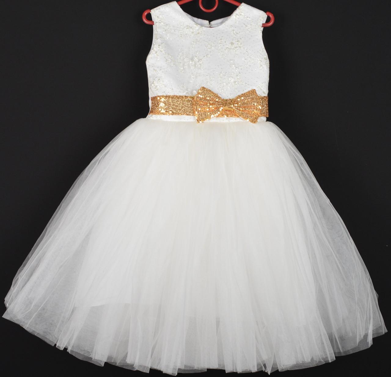 """Платье нарядное детское """"Венера"""" с золотыми бантами впереди и сзади 5-6 лет. Молочное. Оптом и в розницу"""