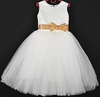 """Платье нарядное детское """"Венера"""" с золотыми бантами впереди и сзади 5-6 лет. Молочное. Оптом и в розницу, фото 1"""