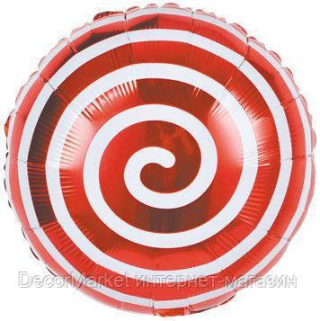 Шар круг фольгированный, ЛЕДЕНЕЦ СПИРАЛЬ КРАСНЫЙ- 45 см (18 дюймов)