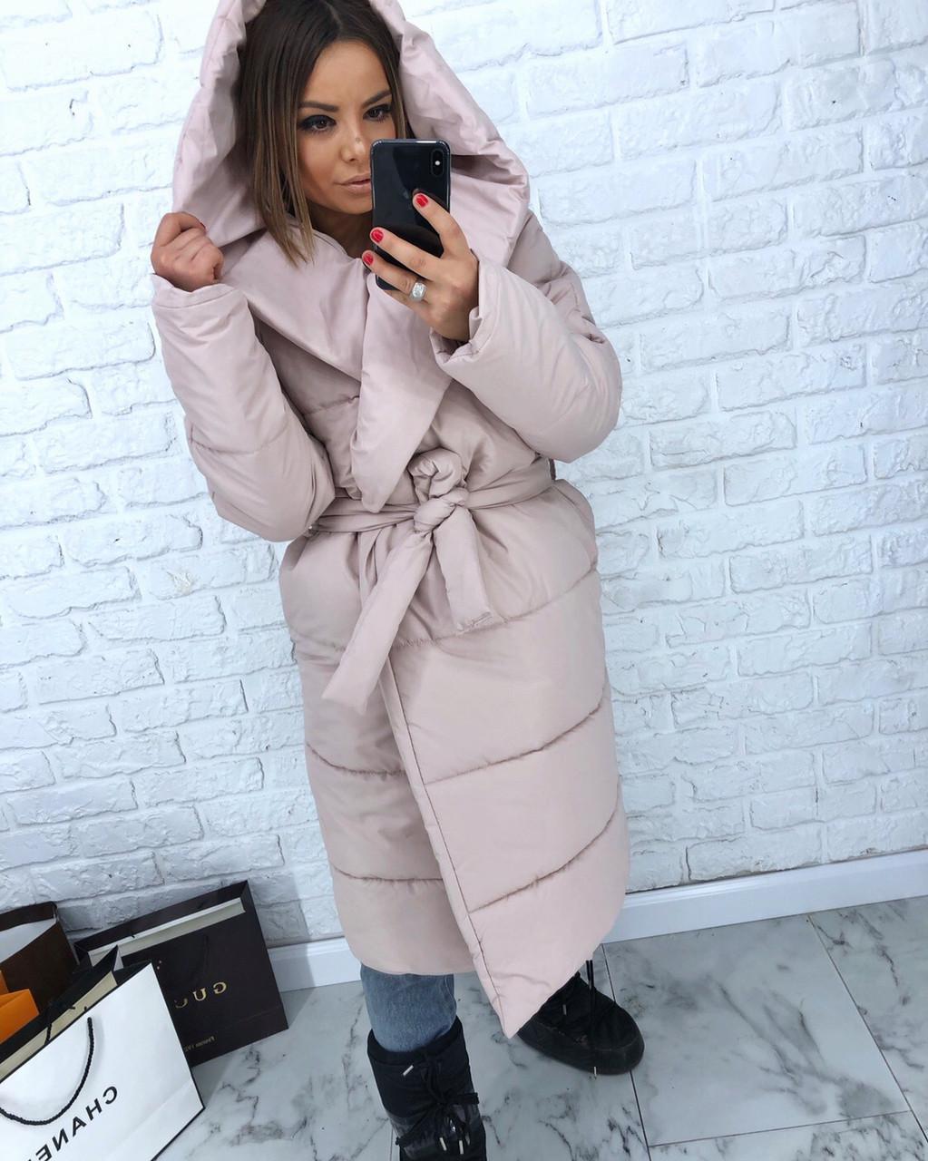 Женская зимняя удлиненная куртка-одеяло с капюшоном 3kr172